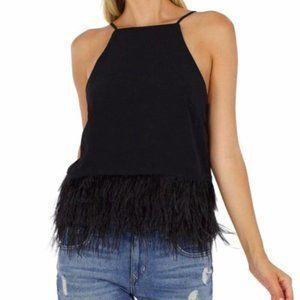 Line & Dot Keira Ostrich Feather Black Tank Top M